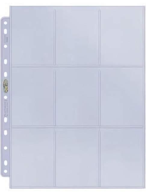 100 Hojas Transparentes para Cartas UltraPro Platinum Series 9 Pocket Page